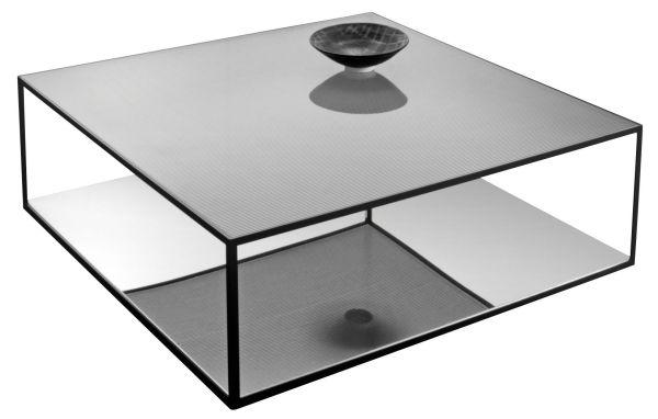 Double Skin Coffee Table Black Striped Glass & Polished
