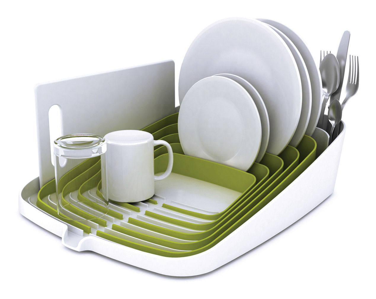 Arena Draining Rack  Dish Drainer Green & White By Joseph