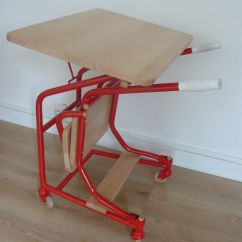 Red Desk Chair No Wheels Orange Lounge Guidon Foldable On Natural Maple By