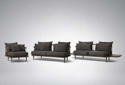 Canape Fly 2 Places Chene Fonce Gris Fonce Made In Design