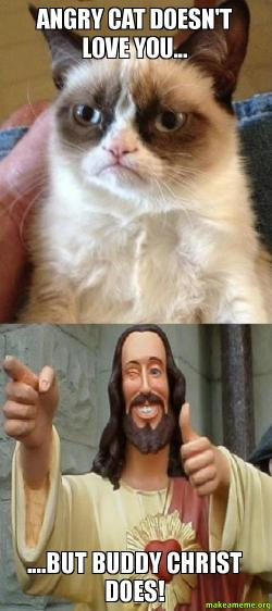 Angry Cat doesnt love you But Buddy Christ does