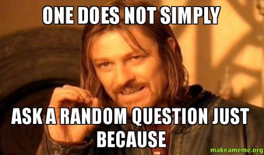 ONE DOES NOT SIMPLY ASK A RANDOM QUESTION JUST BECAUSE - One Does Not  Simply | Make a Meme