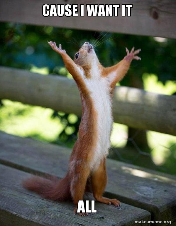 I Want It Meme : Cause, Happy, Squirrel
