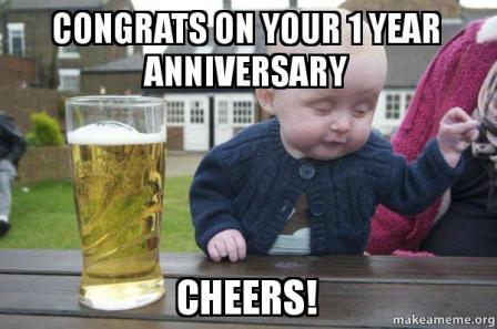 happy 1 YEAR work anniversary meme