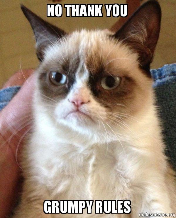 No No Thank You Meme : thank, THANK, GRUMPY, RULES, Grumpy