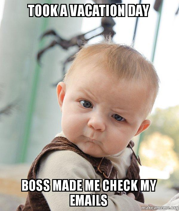 Took A Vacation Day Boss Made Me Check My Emails Skeptical Baby Make A Meme