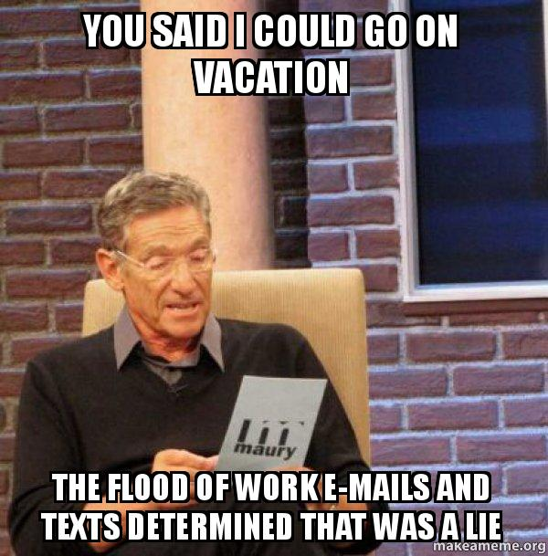 You Said I Could Go On Vacation The Flood Of Work E Mails And Texts Determined That Was A Lie Make A Meme
