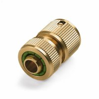 Brass Hose Connection with Water Stop   Manufactum