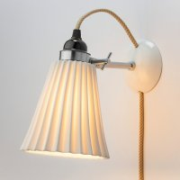 Ribbed bone china wall lamp, With textile cable   Manufactum