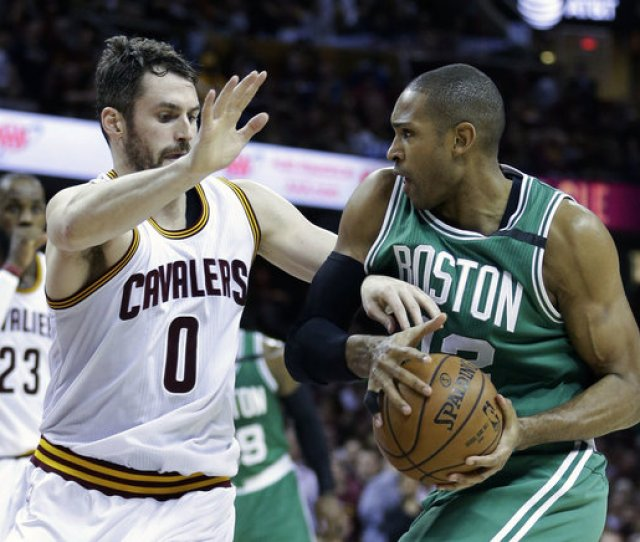 Cleveland Cavaliers Kevin Love  Defends Against Boston Celtics Al Horford
