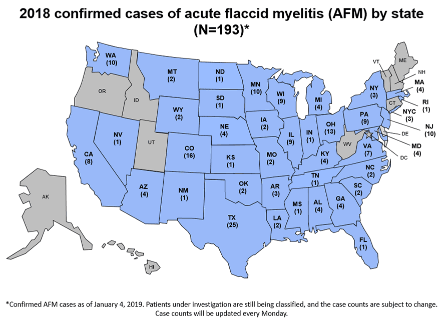 The Centers for Disease Control and Prevention has posted a map showing as of Jan. 4 which states have confirmed cases to date this year of the polio-like disease acute flaccid myelitis.