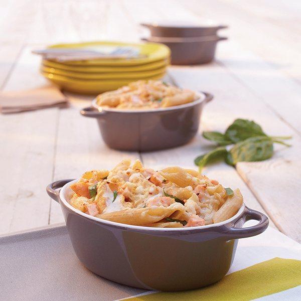 set 4 petits plats a four individuels gris taupe en ceramique emaillee 350 ml