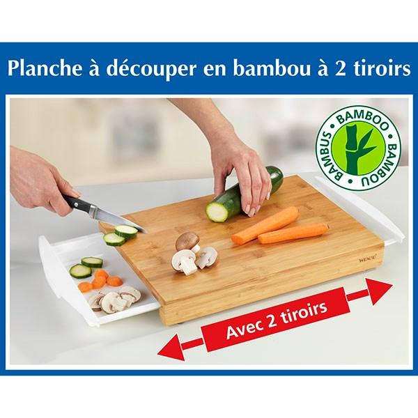 planche a decouper en bambou a 2 tiroirs