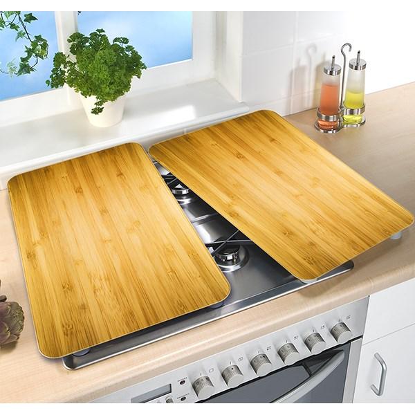 2 couvre plaques protection motifs bois