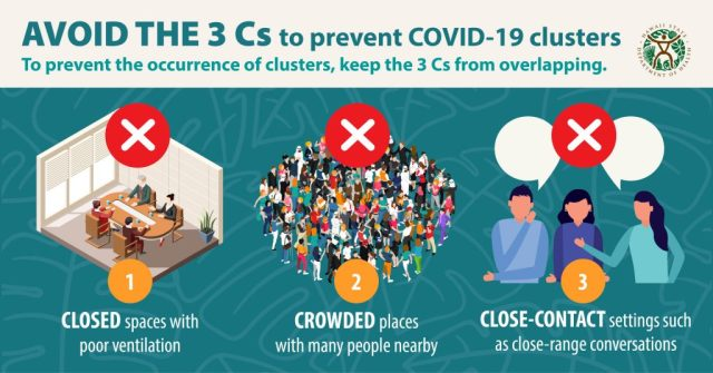 Avoid the 3 Cs for COVID-19 flyer