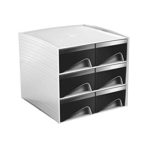 mini module de rangement plastique cep my cube 6 tiroirs noirs