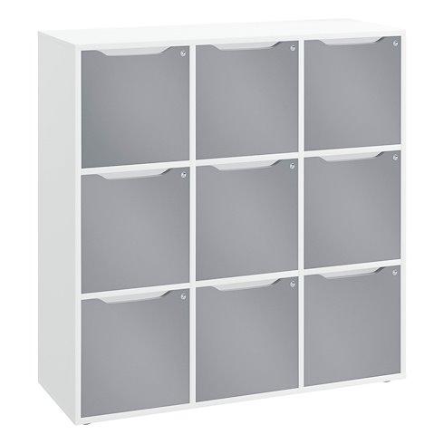 meuble a casiers blanc 9 cases avec portes
