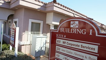 A sign for M.F. Corporate Services (Nevada) Limited is shown outside a business complex, located at 5858 S. Pecos Rd., Suite 100, on Feb. 25, 2016, in Las Vegas, Nev. // Ronda Churchill / McClatchy