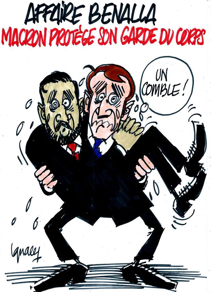 Le dessin du jour (humour en images) - Page 18 Ignace_affaire_benalla_macron_protege_silence-mpi-742x1024