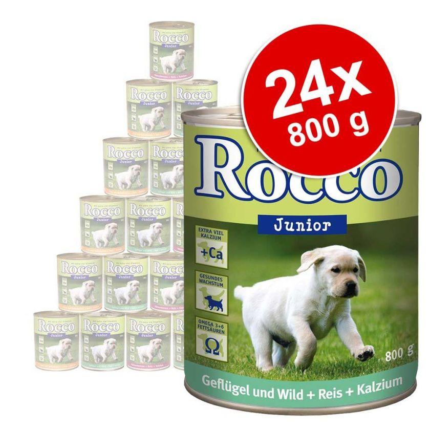 Lot Rocco Junior 24 x 800 g pour chien - dinde, cœur de veau, calcium