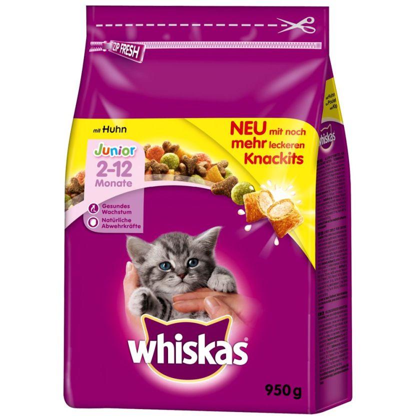 2x1,9kg Junior poulet Whiskas Croquettes pour chaton