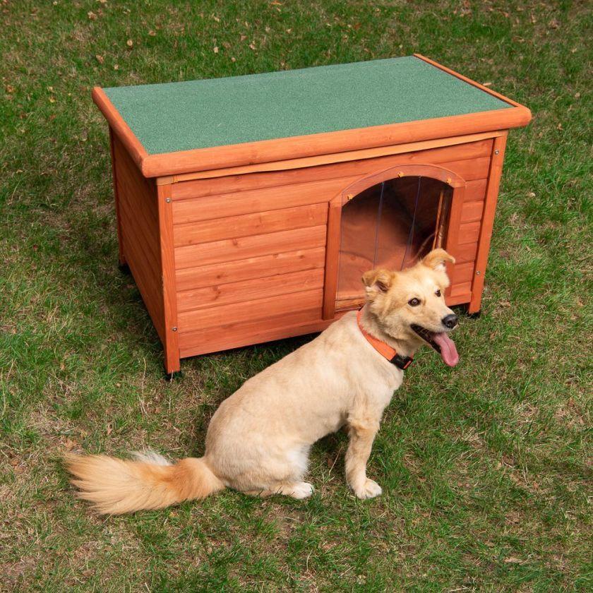 Woody Niche à toit plat et porte en plastique pour chien - 115x76x80 cm