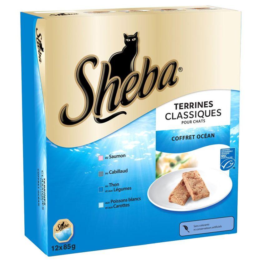 Sheba 12 x 85 g pour chat - Finesse : Délicates mousses Terre et Mer