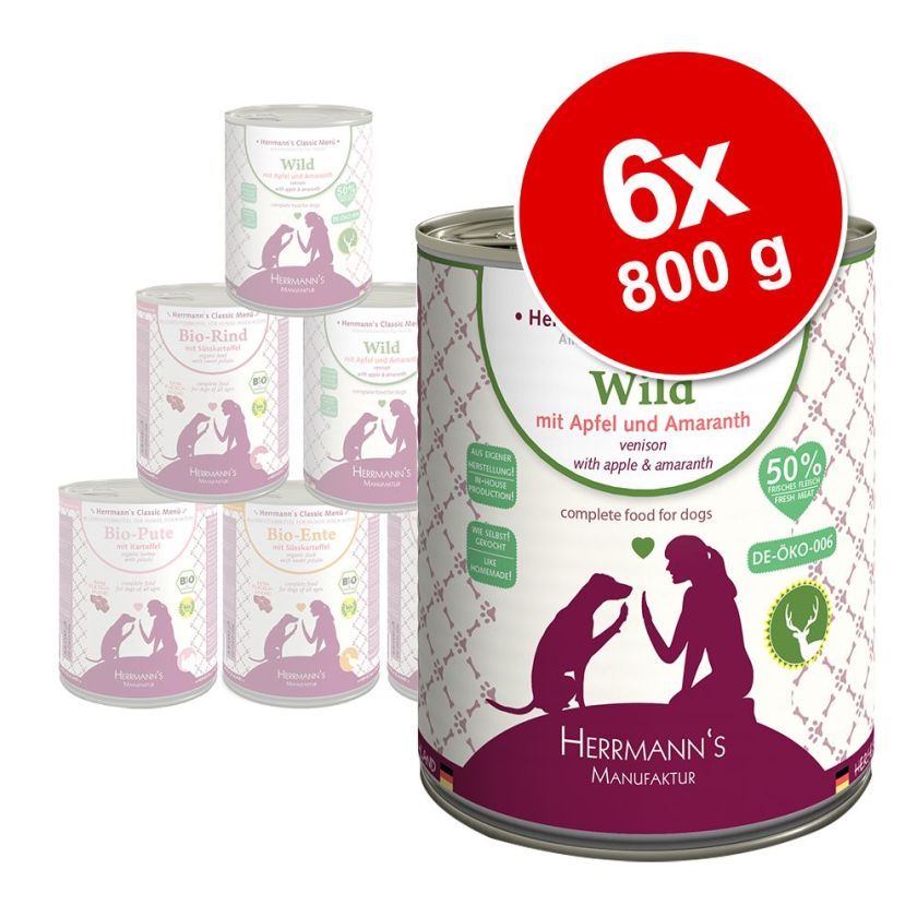 Herrmann's Menu Sans céréales 6 x 800 g pour chien - dinde bio, pommes de terre