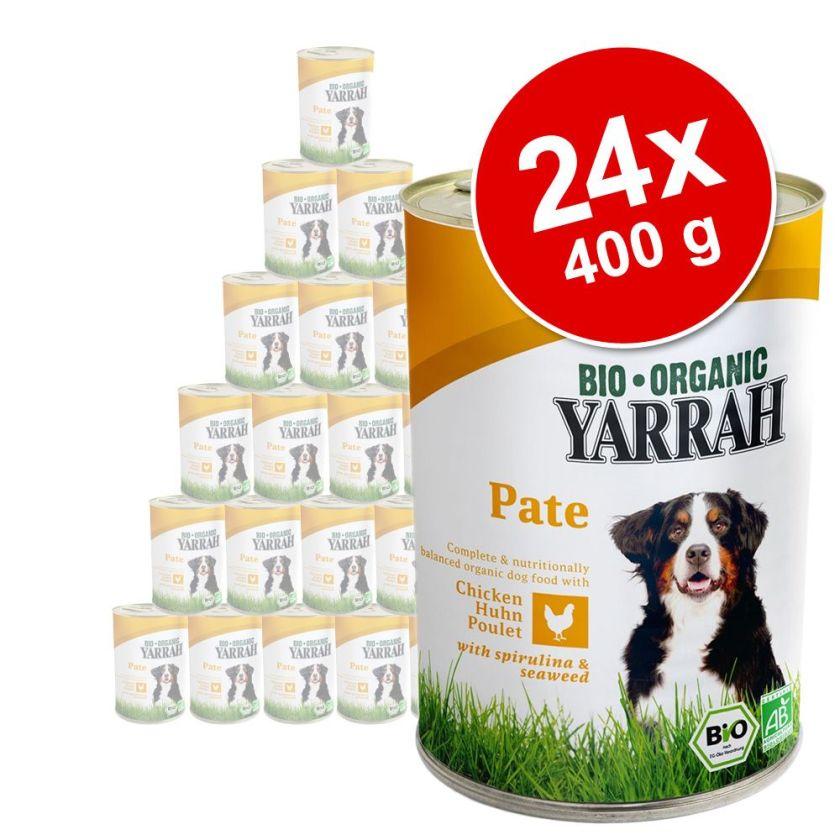 24x400g Yarrah Bio poulet, algues, spiruline pour chien