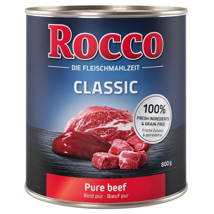 6x800g Classic bœuf, saumon Rocco - Nourriture pour chien