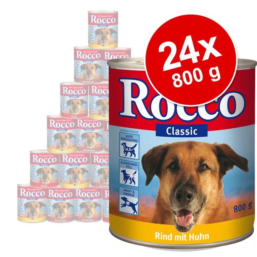 Lot Rocco Classic 24 x 800 g pour chien - pur bœuf