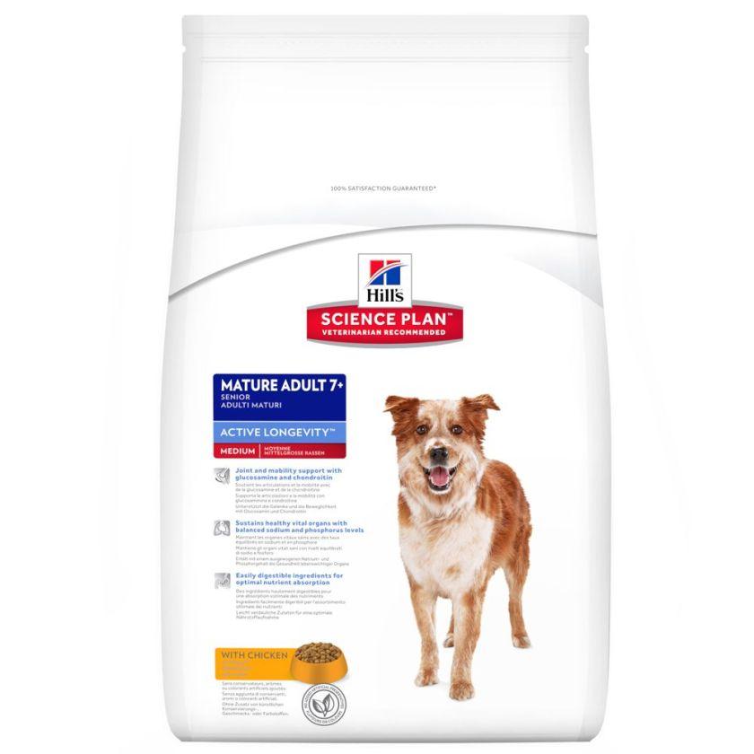 2x12kg Mature Adult 7+ Medium Active Longevity Hill's Croquettes pour chien