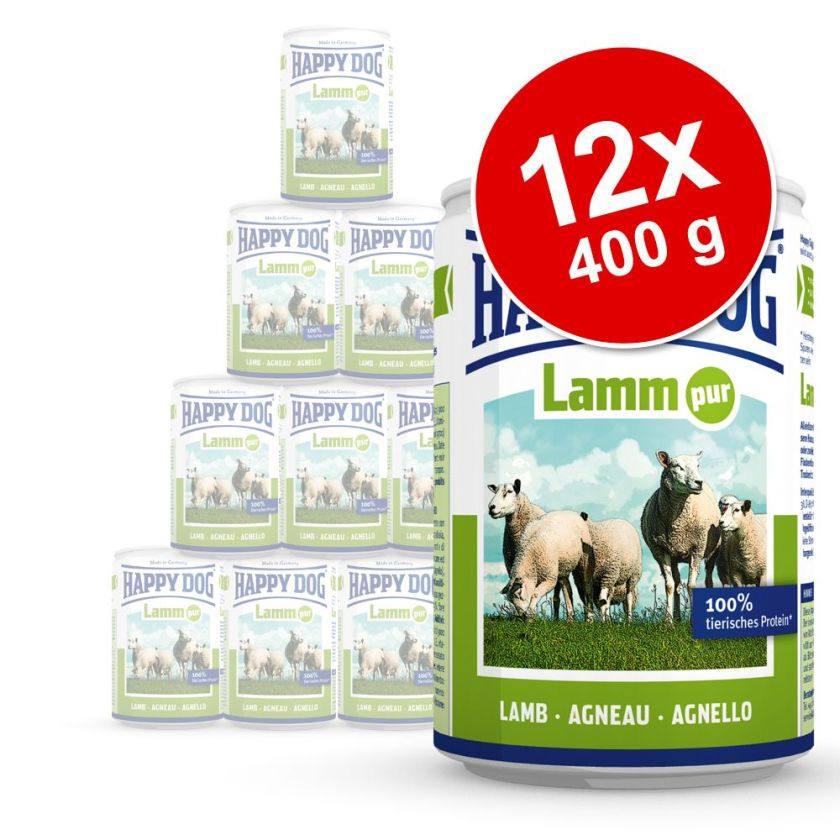 Lot Happy Dog Pur 12 x 400 g pour chien - lot mixte gibier, bœuf, dinde
