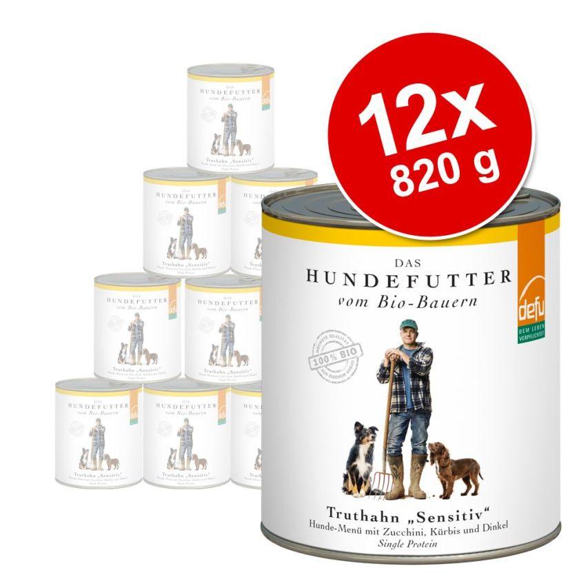 12x820g Sensitive dinde Defu Bio - Nourriture pour chien