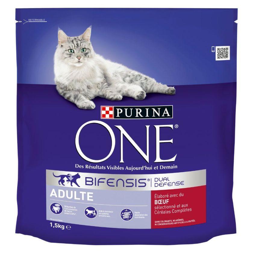 1,5kg Adulte bœuf, céréales complètes PURINA ONE - Croquettes pour chat