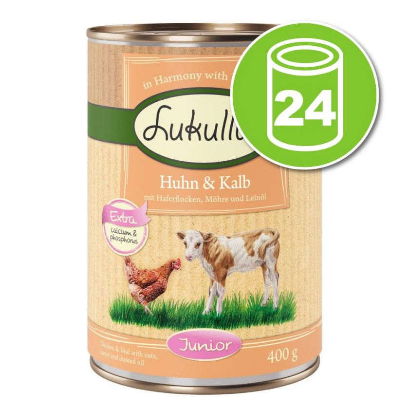 24x400g Junior poulet, veau Lukullus - Nourriture pour chien