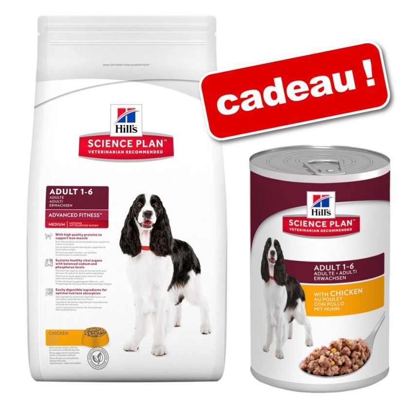 Croquettes Hill's Science Plan 10/12 kg + boîtes 6 x 363/370 g offertes ! - Adult 1-6 Advanced Fitness Medium poulet (12 kg)