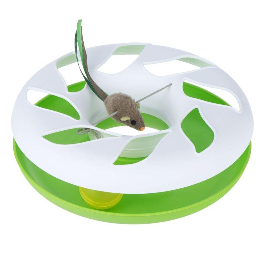Jouet Manège Round About pour chat - 1 jouet - vert et blanc