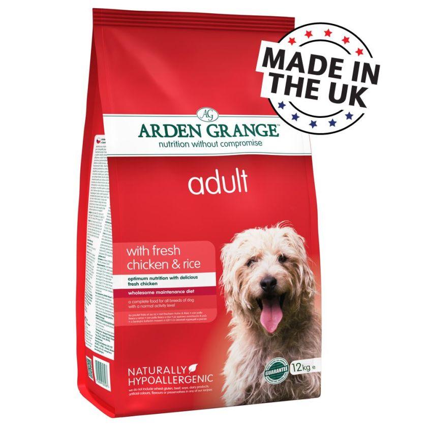 2x12kg Adult Arden Grange Poulet/riz Croquettes pour chien