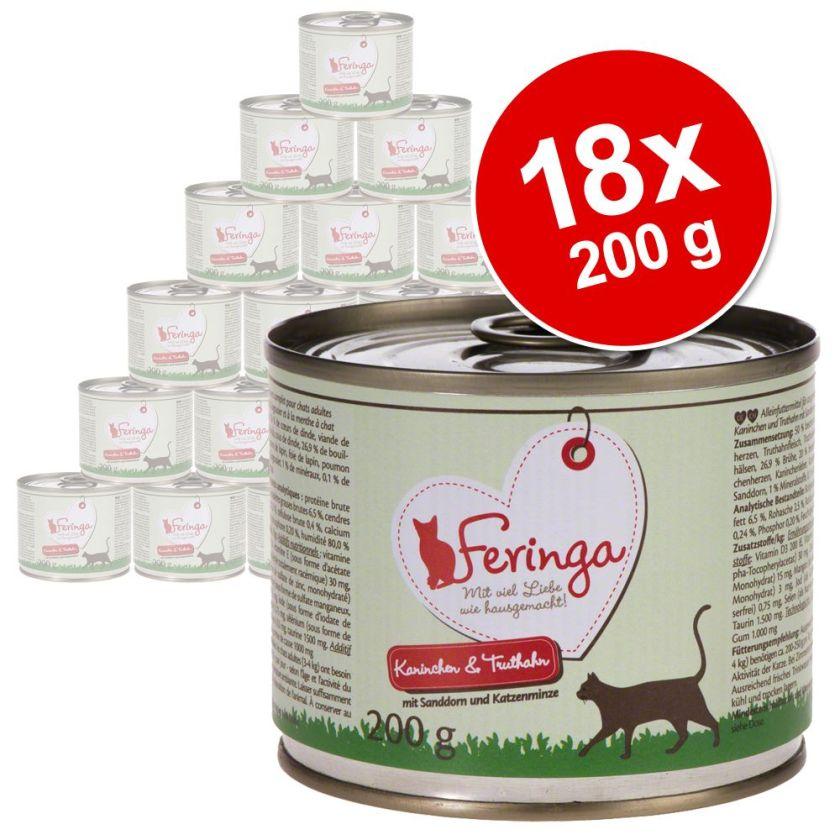 18x200g Menus Duo lapin, dinde, argousier, menthe à chat Feringa - Nourriture pour Chat