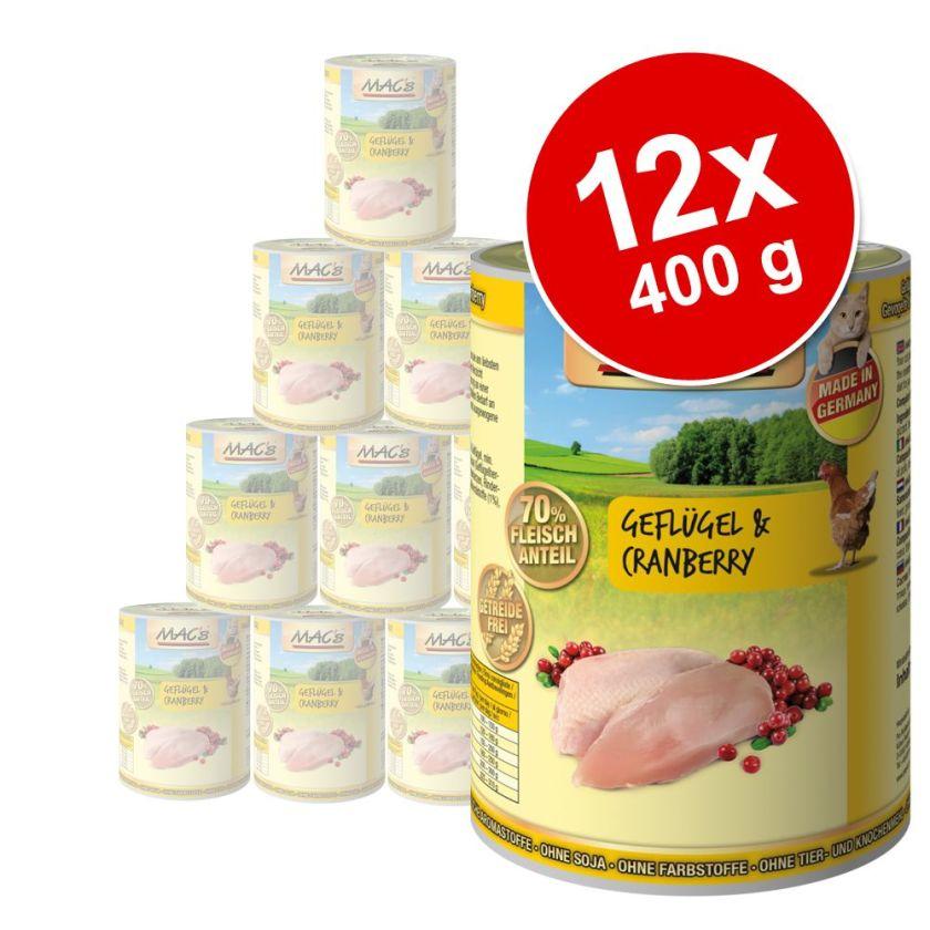 12x400g volaille et viande 2 saveurs MAC's - Nourriture pour Chat