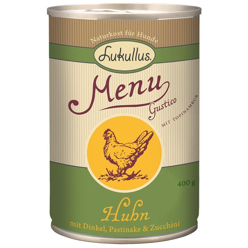 6x400g Menu Gustico poulet, épeautre, panais, courgettes Lukullus - Nourriture pour chien