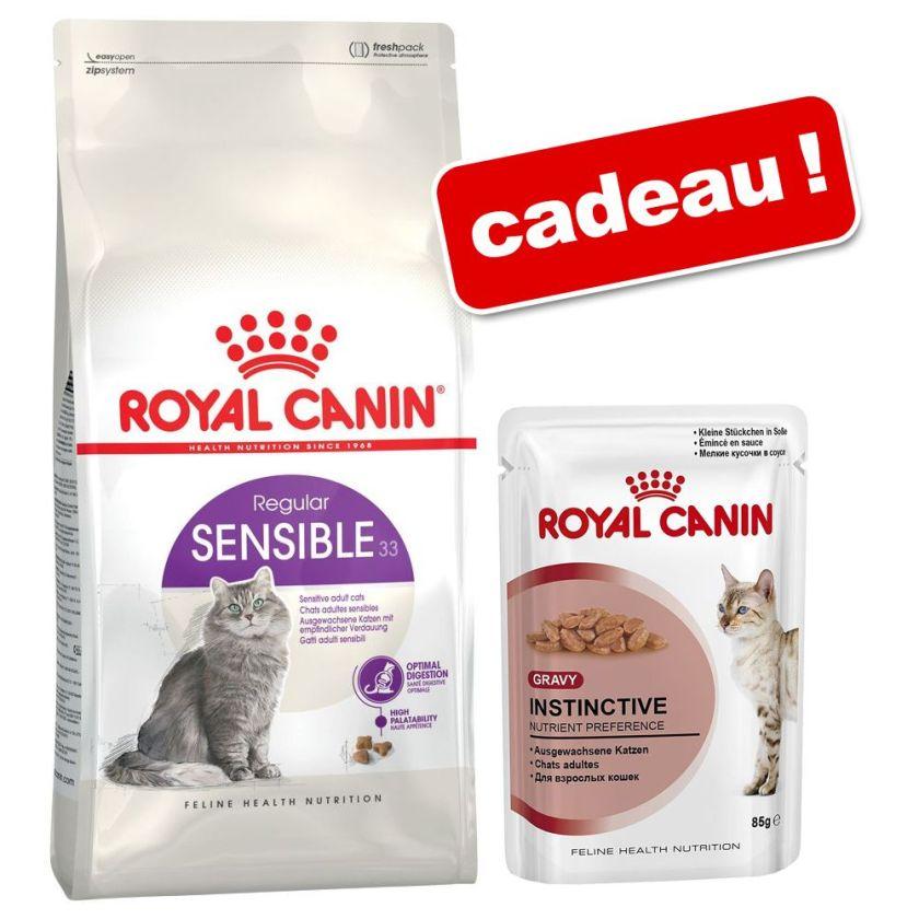 Croquettes Royal Canin 3/3,5/4 kg + 6 x 85 g de sachets Royal Canin offerts ! - Hair & Skin Care (4 kg) + sachets Instinctive en sauce