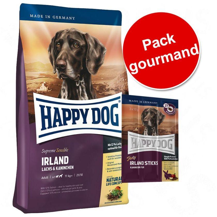 Pack gourmand 12,5 kg de croquettes + 24 friandises Happy Dog Supreme Sensible - Irlande