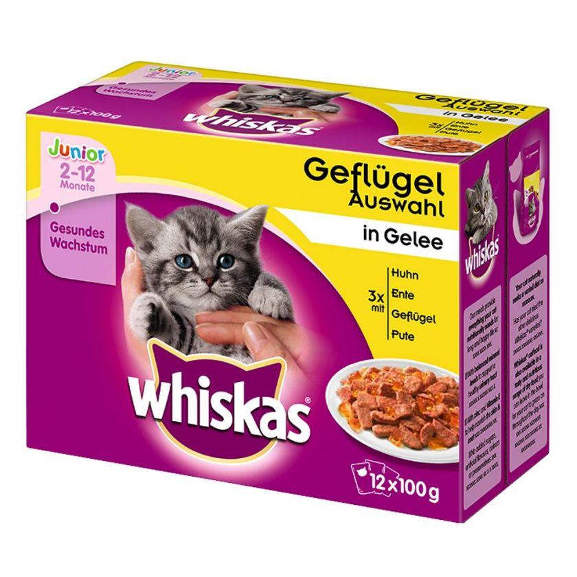 12x100g Junior volaille en sauce Whiskas - Nourriture pour Chat