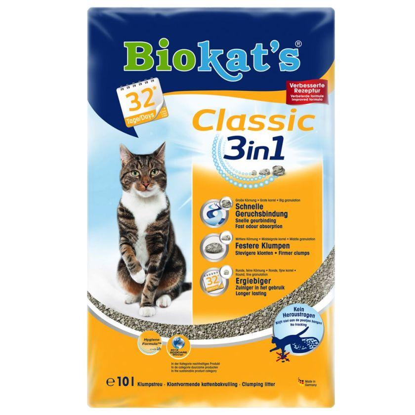 Litière Biokat´s Classic 3in1 pour chat, sans parfum - lot % : 3 x 10 L
