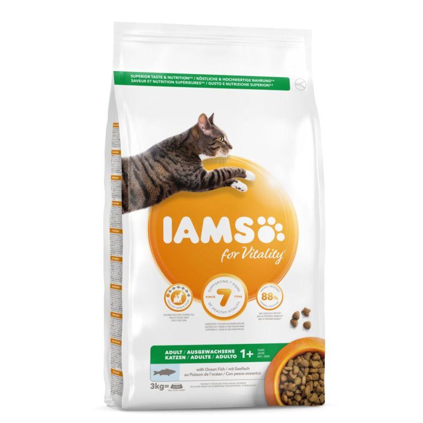 3kg Adult Iams Croquettes pour chat Poisson de mer/poulet