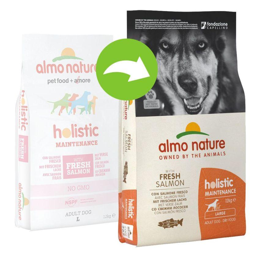 2x12kg Adult Large Almo Nature Saumon/riz Croquettes pour chien