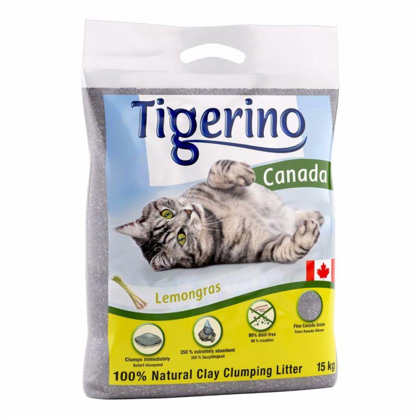 Litière Tigerino Canada, senteur citronnelle pour chat - 15 kg