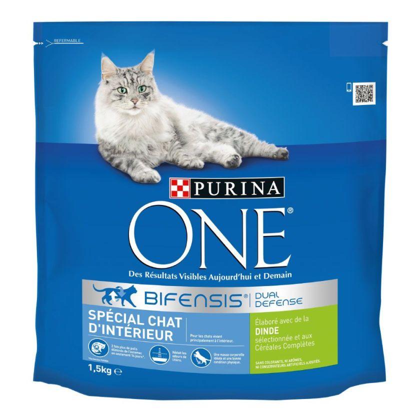 4x1,5kg Chat d'Intérieur dinde PURINA ONE - Croquettes pour chat